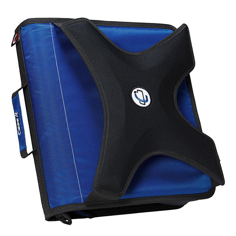 "Case•it The X-Hugger, 2"" O-Ring Zipper Binder w/Tab File, Blue"