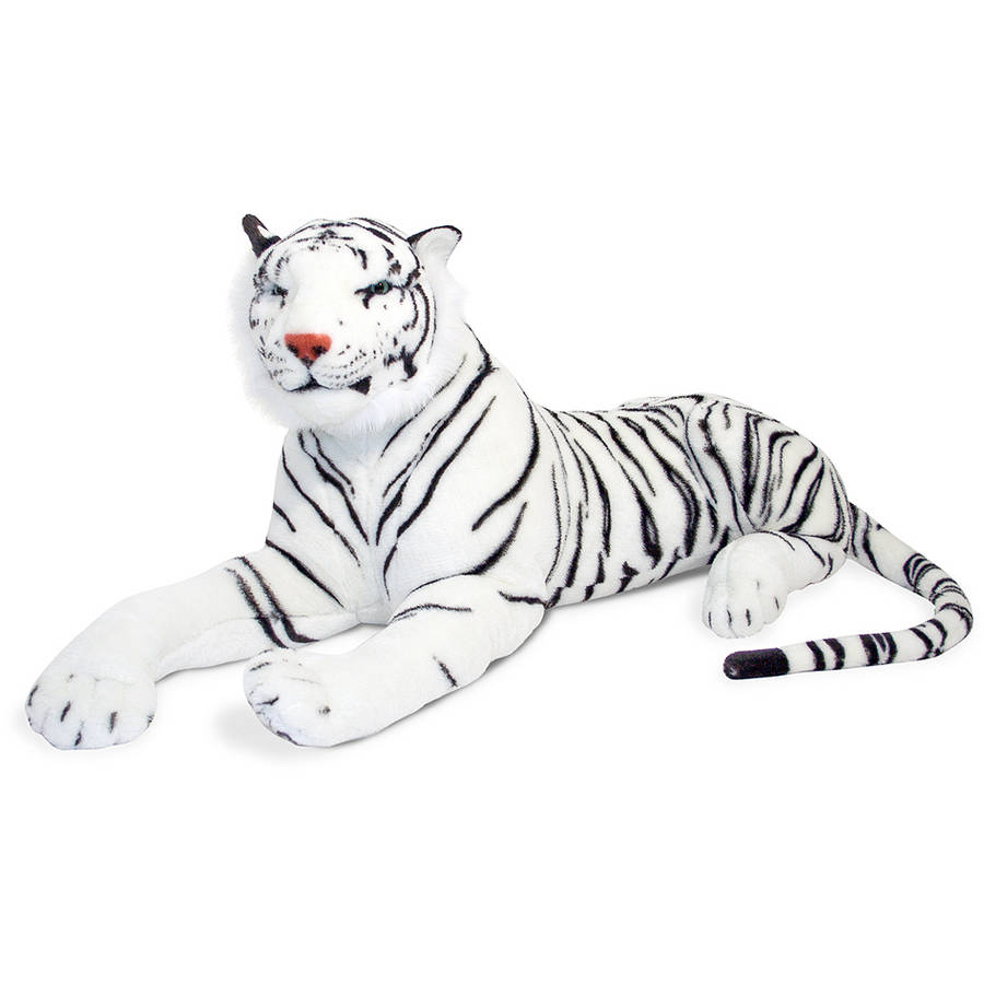 Melissa Doug Giant Siberian White Tiger Lifelike Stuffed Animal