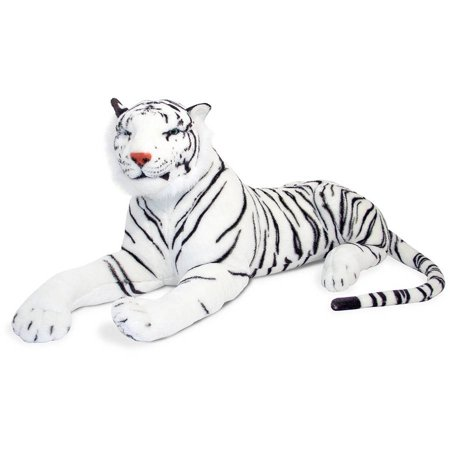 Melissa & Doug Giant Siberian White Tiger, Lifelike Stuffed Animal, over 5' long