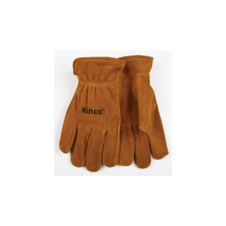 Work Gloves, Unlined Golden Suede Cowhide, Keystone Thumb, Shirred Elastic Back, Large (Hides Unlined Gloves)