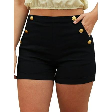 Women Mid Waist Trim Casual Modern Black Shorts