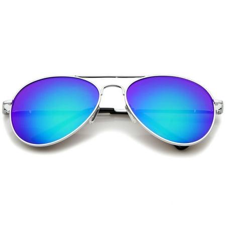 sunglassla - classic metal frame spring hinges color mirror lens aviator sunglasses - (White Frame Aviators)