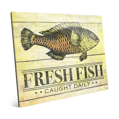 Click Wall Art Rustic Fresh Fish Vintage Advertisement