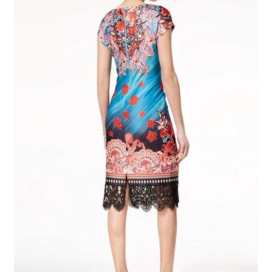9d721b29 ECI Dresses - Women's Large Lace-Trim Embellished Keyhole Sheath ...