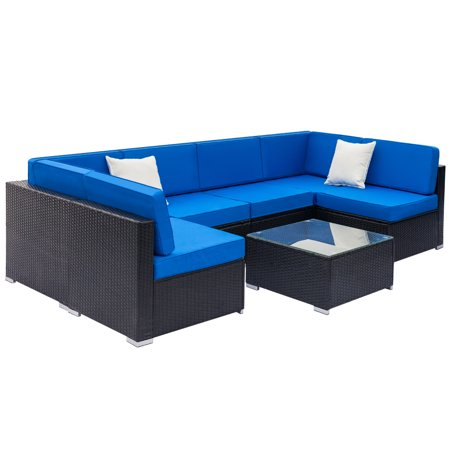 7 Piece Outdoor Patio Furniture Set, Patio Wicker Conversation Set w/ Coffee Table & Patio Sofa, All-Weather Rattan Sofa Sectional Furniture Set, Outdoor Couch Set for Backyard Pool, Black, W2243 ()