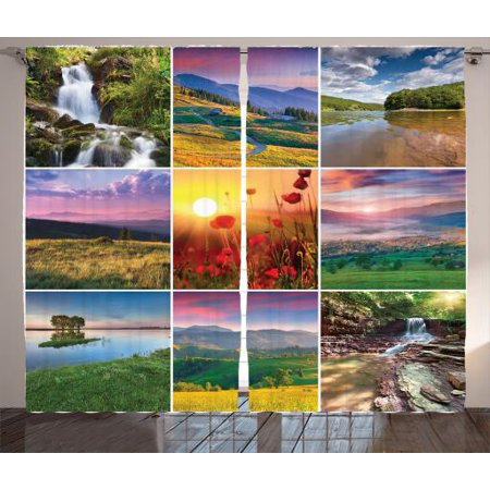 Nature  Curtains 2 Panels Set, Summer Landscapes Waterfall Blooming Flowers Purple Sunshine Natural Paradise Picture, Living Room Bedroom Decor, Red Yellow Green, by Ambesonne