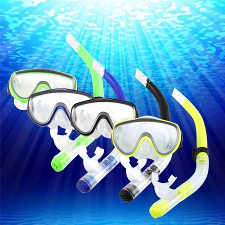 (Diving Adult PVC Tempered Glass Mask Set,Silicone Mouthpiece Semi-dry Breathing Tube For Diving)