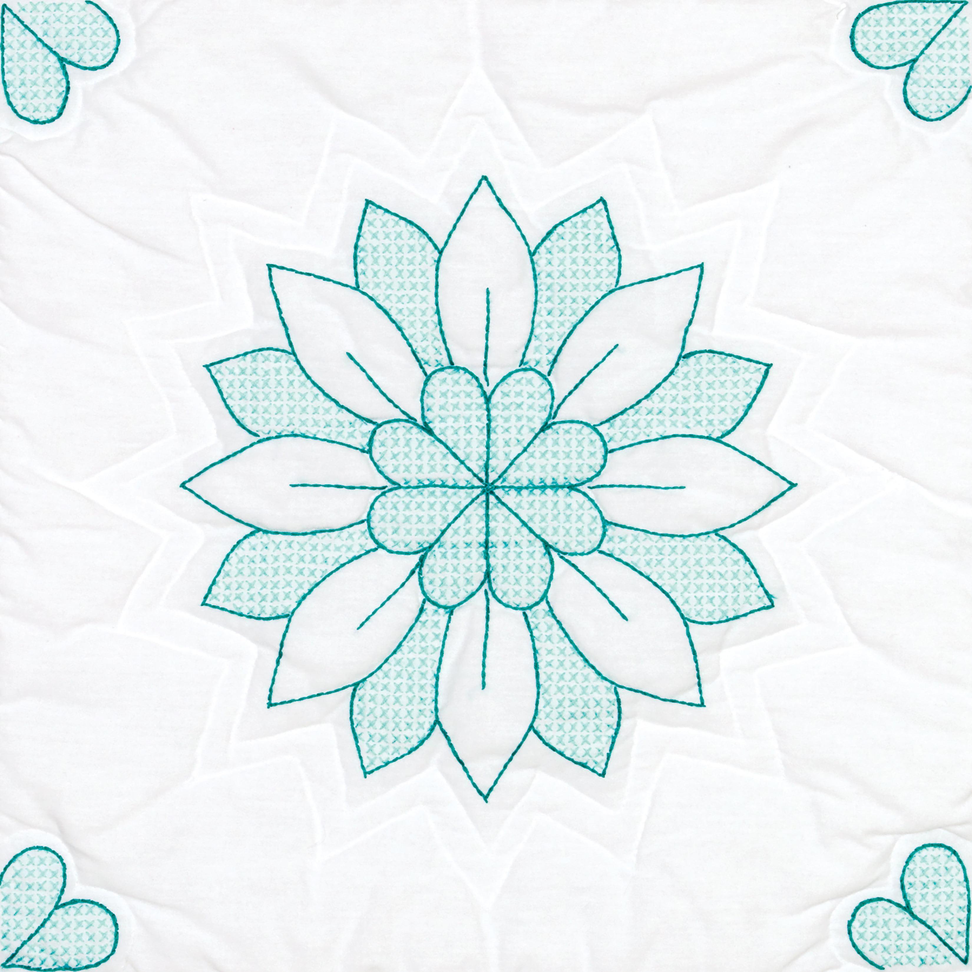 """Stamped White Quilt Blocks 18""""X18"""" 6/Pkg-Mandala Flower - image 1 of 1"""