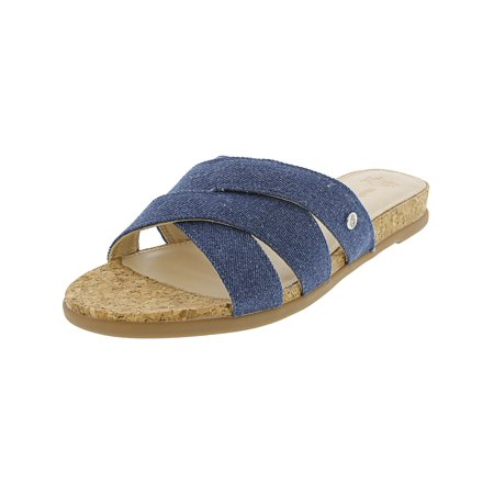 Hush Puppies Women's Dalmation Slide Medium Blue Fabric Sandal - 7.5W ()