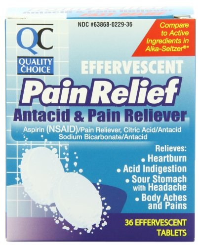4 Pack Quality Choice Effervescent Pain Relief Antacid Tablets 36 Count Each