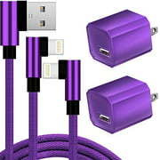 Charger, 2-Pack 6FT/2M Epacks Nylon Braided 90 Degree Fast Charging Cord Data Sync Transfer Cable USB Wall Charger 5V Power Adapter Compatible with , Mobile Digital Device, Purple