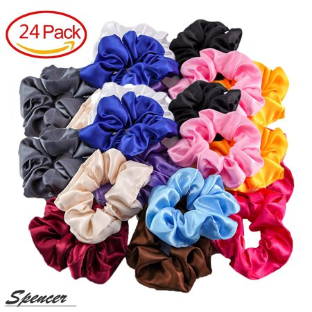 Spencer 24 Pcs Assorted Elegant Satin Hair Bands Set No Damage Traceless Elastic Hair Scrunchies for Women,12 Colors