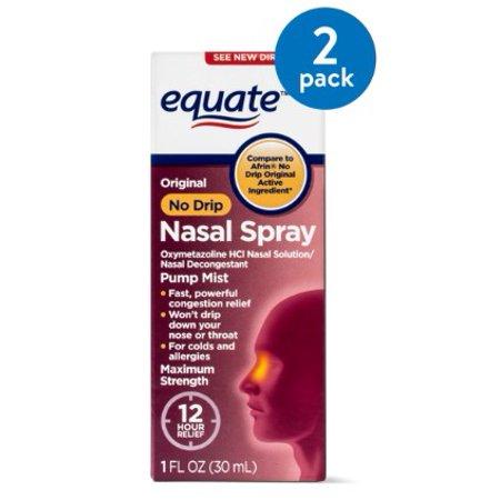 (2 Pack) Equate Original No Drip Maximum Strength Oxymetazoline Nasal Spray, 1