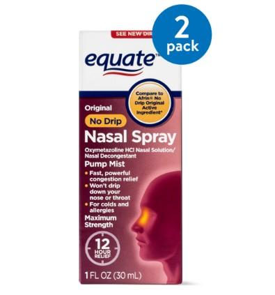 (2 Pack) Equate Original No Drip Maximum Strength Oxymetazoline Nasal Spray, 1 Oz