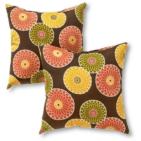 Greendale Home Fashions Outdoor Accent Pillows, Set of 2, Flowers on Chocolate