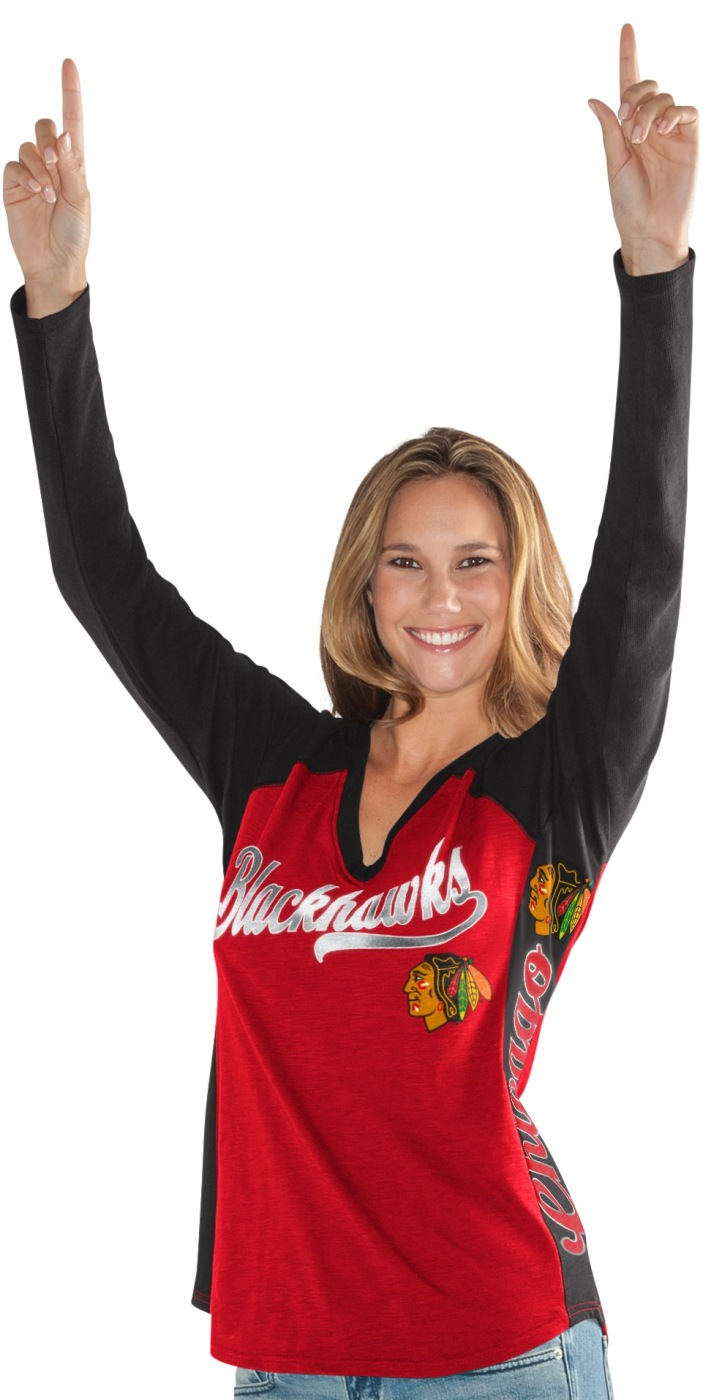 "Chicago Blackhawks Women's G-III NHL ""Arena"" V-neck Long Sleeve T-shirt by G-III LEATHER FASHIONS INC"