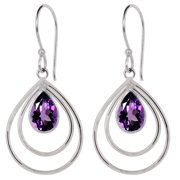Dangling 3.15 Ctw Amethyst No Metal Stamp Brass Pear Dangle Earrings for Women By Orchid Jewelry