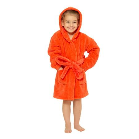 Boys Hooded Robe of Plush Microfleece. Soft, Warm with 2 Pockets & Belt