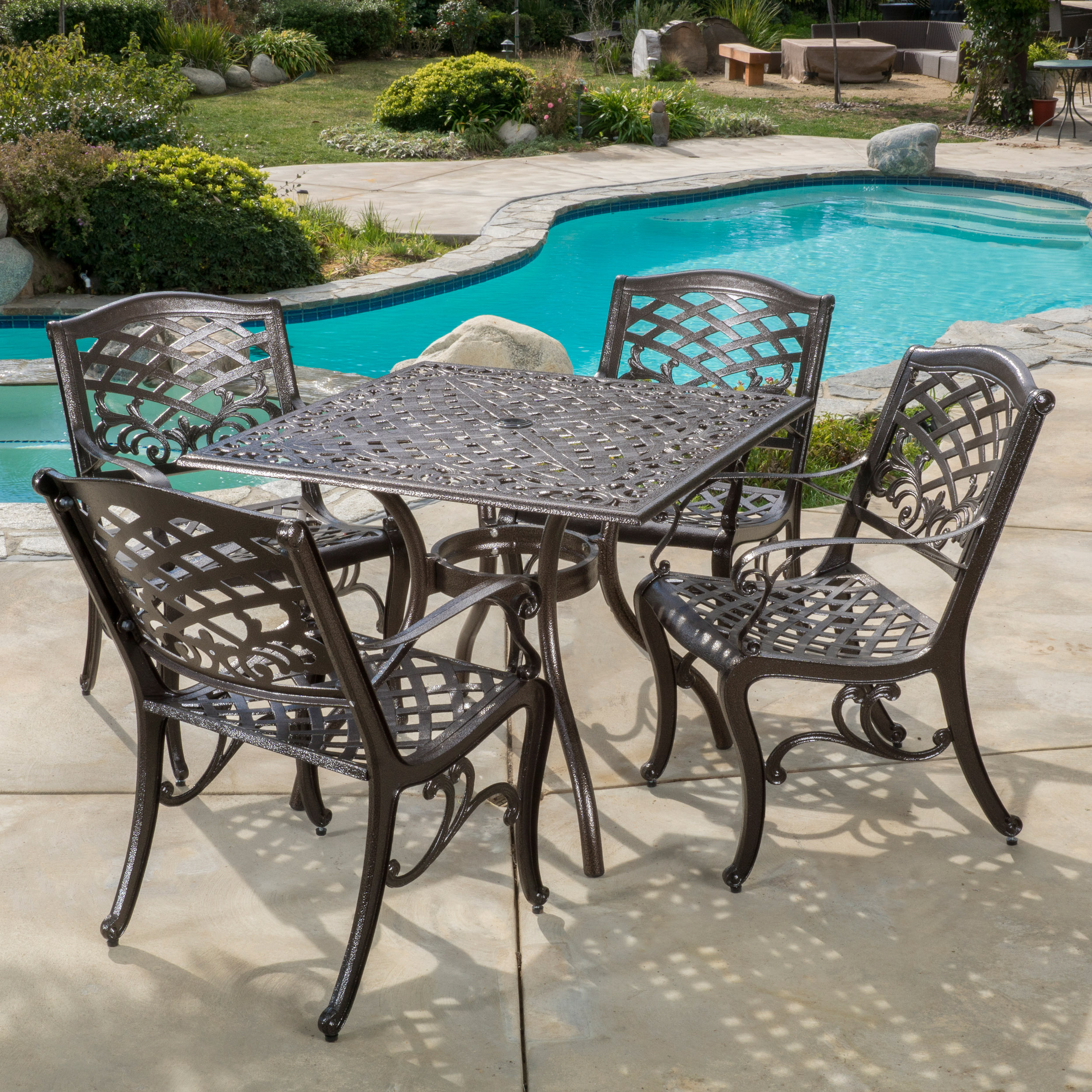 Pittman Outdoor Cast Aluminum 5 Piece Square Dining Set, Hammered Bronze