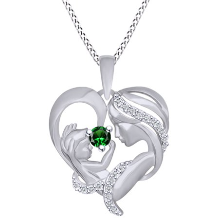 - Round Cut Simulated Emerald & White Cubic Zirconia Mom With Child Heart Pendant Necklace In 14k White Gold Over Sterling Silver