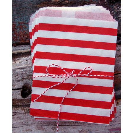 Quasimoon Red Stripe Paper Treat Bags - (12 PCS) by - Red Treat Bags