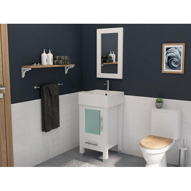 Porcelain Single Vanity Set, 18 Inch Bathroom Vanity With Vessel Sink