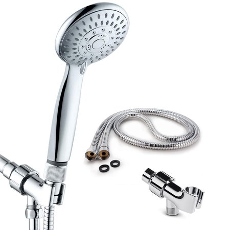 Handheld Shower Head 5 Spray Settings With Water Flow Regulator Stainless Steel Hose Adjustable Bracket Set Polished Chrome Bathroom Hand Showerhead Holder ()