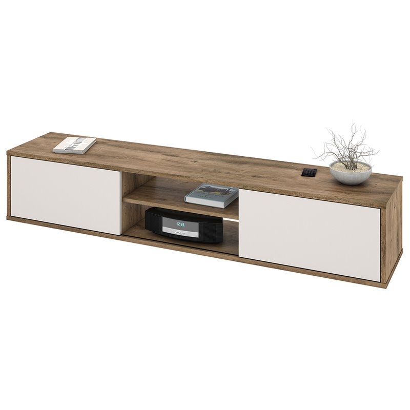 Bestar Fom 71 TV Stand in Rustic Brown and Sandstone