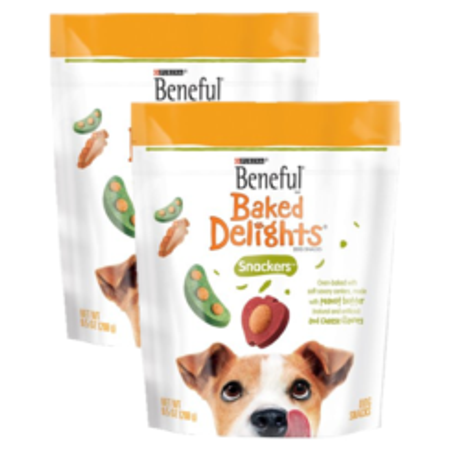 (2 Pack) Beneful Baked Delights Snackers Peanut Butter & Cheese Dog Treats, 9.5 Oz - Halloween Treats Bake
