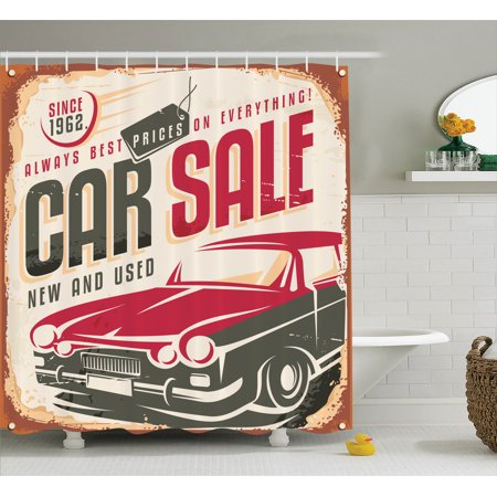 1960S Decor  Nostalgic Car Sale Sign New And Used Auto Advertising American Style Urban Life Print  Bathroom Accessories  69W X 84L Inches Extra Long  By Ambesonne