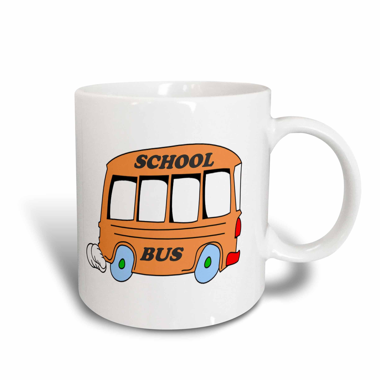 3dRose Orange School Bus, Ceramic Mug, 11-ounce