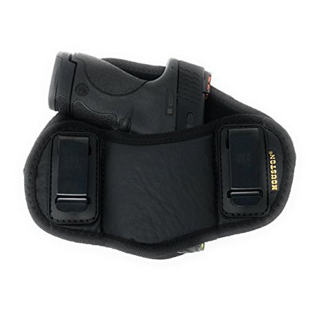 Tactical Pancake Gun Holster Houston - ECO Leather Concealed Carry Soft Material | Suede Interior for Protection | IWB | Right Hand | Fit: Glock 19 23 32 26 27 33 30 | M&P Shield, XDs, Taurus