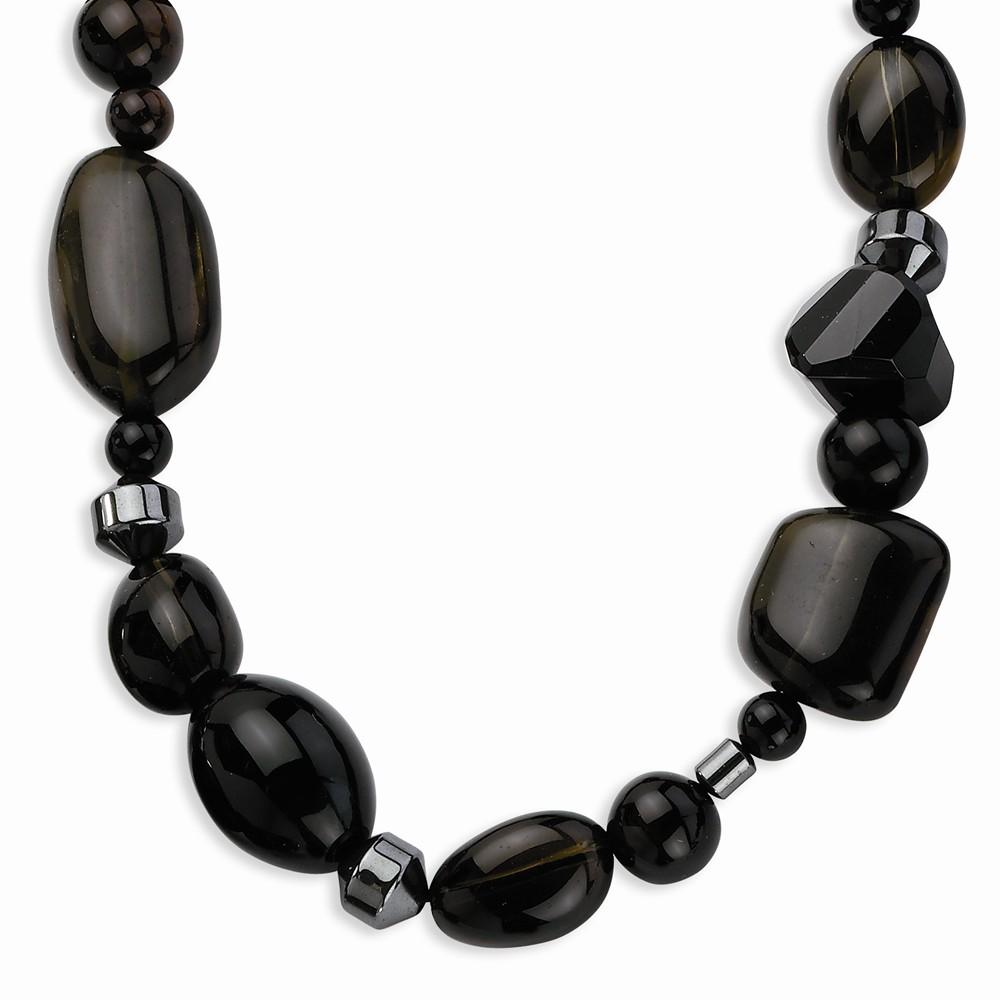 Goldia Sterling Silver 17 Inch Black Agate/Hematite & Smo...