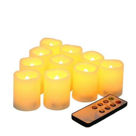 EcoGecko Set of 10 Indoor Outdoor Flameless Warm Glow Votive Candles with Remote and Timer, Battery Powered Fake Candles, Batteries Included ()