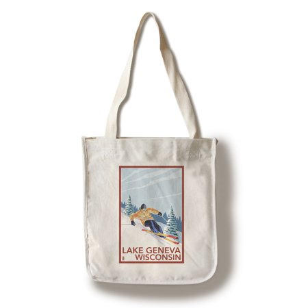 Lake Geneva, Wisconsin - Downhill Skier - Lantern Press Poster (100% Cotton Tote Bag - Reusable)