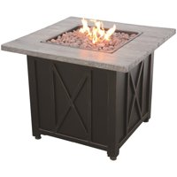 "Uniflame 30"" Square Wood Grain Printed Mantel LP Gas Patio Fire Pit in Black"