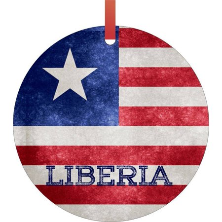 Grunge Ornament (Liberia Grunge Flag Flat Round - Shaped Christmas Holiday Hanging Tree Ornament Disc Made in the U.S.A. )