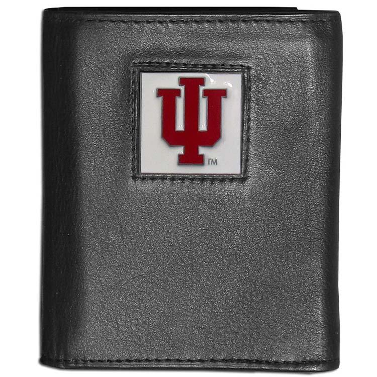 Indiana Hoosiers Deluxe Leather Tri-fold Wallet Packaged in Gift Box (F)