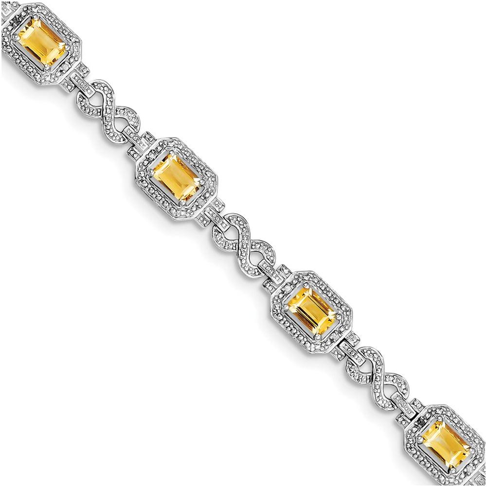 Sterling Silver Diamond & Citrine Bracelet QX818CI by