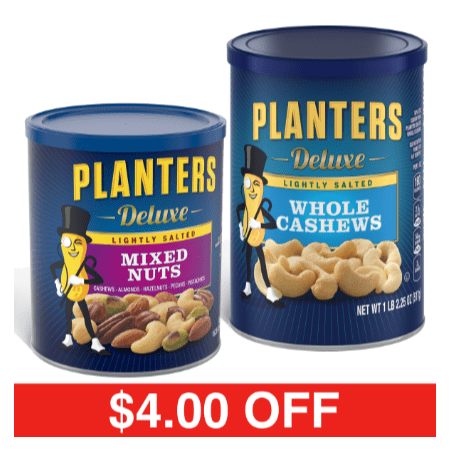 Whole Cashews - Planters Lightly Salted Deluxe Whole Cashews + Mixed Nuts