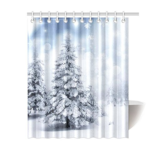 GCKG Christmas Trees Shower Curtain Winter Nature Scenery Polyester Fabric Bathroom Sets With Hooks 60x72 Inches