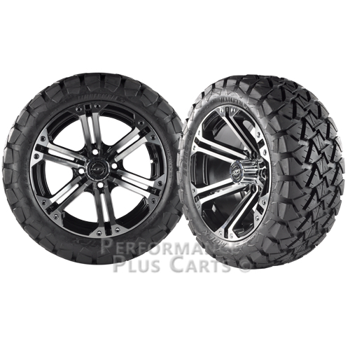 """Nitro 14"""" Black and Machined Golf Cart Wheels with 22"""" All Terrain Tires"""