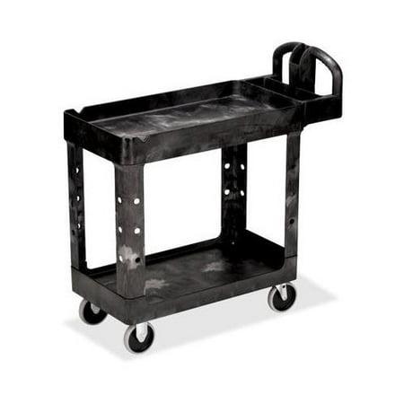 Rubbermaid HD 2-Shelf Utility Cart w/Lipped Shelf (Small) RCP450088BK