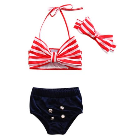 StylesILove Girls Cute Big Bowknot Stripe Bikini Bathing Swimwear 3 pcs Set - Big Bikini
