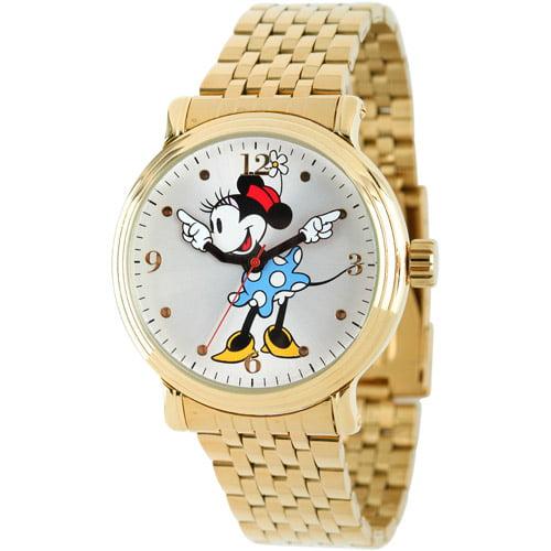Disney Mickey Mouse Women's Shinny Gold Vintage Articulating Alloy Case Watch, Gold Bracelet