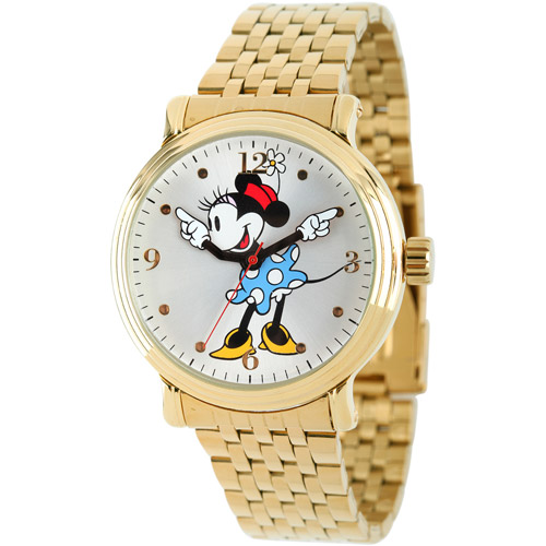 Mickey Mouse Women's Shinny Gold Vintage Articulating Alloy Case Watch, Gold Bracelet