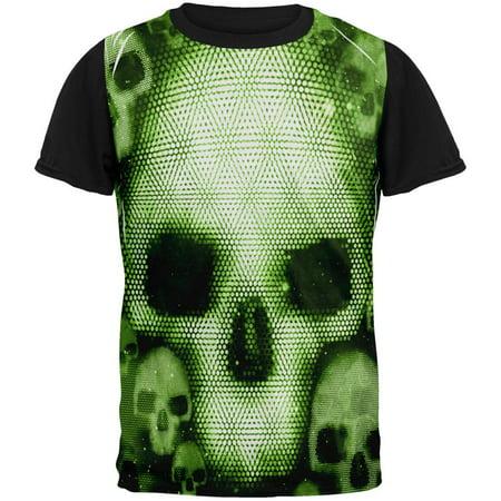 Halloween Cyber Space Alien Skull All Over Mens Black Back T Shirt - Baby Aliens Halloween