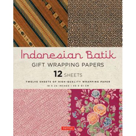 Indonesia Stamp Sheet (Indonesian Batik Gift Wrapping Papers : 12 Sheets of High-Quality 18 X 24 Inch Wrapping Paper)