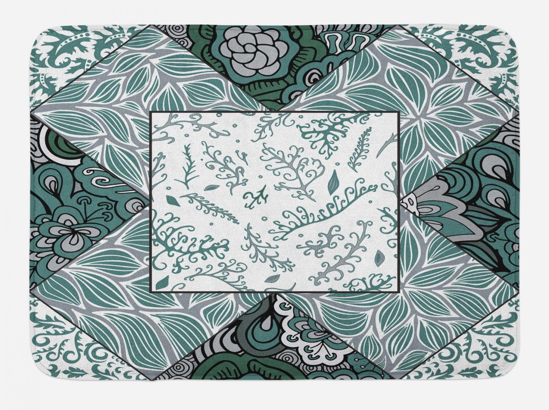 Boho Bath Mat Shabby Chic Leaves In Mix Chevron Swirled Nature Branches Flower Print Non Slip Plush Mat Bathroom Kitchen Laundry Room Decor 29 5 X 17 5 Inches Jade Green Grey White Ambesonne