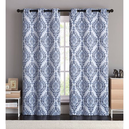 - VCNY Home London Damask Printed Blackout Grommet Top Window Curtain Panel - Set of Two, Multiple Sizes and Colors Available